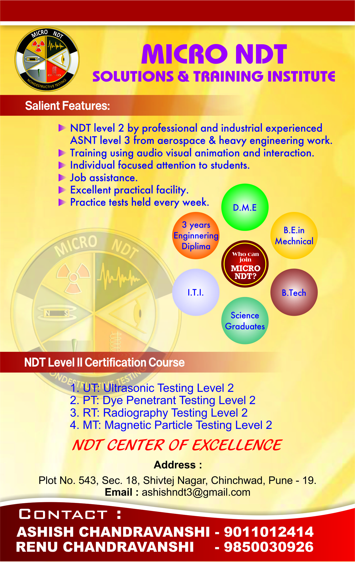 NDT Level 2 Certification Institute and NDT service and consultation